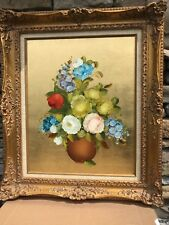 ORIGINAL OIL PAINTING BY R. ROSINI OF FLORAL ARRANGEMENT WITH VASE