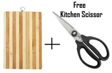Bamboo Wooden Chopping Board + Kitchen SCISSORS - Reversible Cutting With Handle