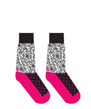 FLOWERS & DOTS - Pink, White, Black - Women's Crew Socks by Yo Sox