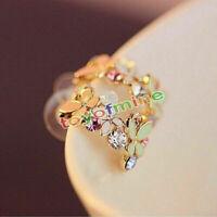 1 Orecchini fiore dell'orecchio di cristallo bello di strass Hollow Donne Chic