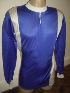 Vintage 1970s L/S Cycling Jersey Shiny Blue & White Satin Size 4 Made in France!