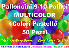 """PALLONCINI COLORI MISTI 50 Pz 26 cm 9-10""""  MULTICOLOR PARTY FESTA ALLESTIMENTO"""