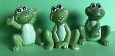 Cat Charity Auction A  Trio of Jolly Bright Green Frog Figurines