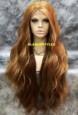 Human Hair Blend Hand Tied Lace Front Full Wig Auburn Strawberry Blonde Mix NWT