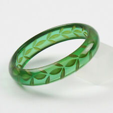 Vintage Bakelite Bracelet Bangle Reverse Carved Emerald Green Prystal Quality