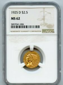 1925-d Gold $2.5 Indian Head NGC MS 62