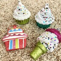 Lot Of 4 Ice Cream & Cupcake Ornaments Christmas Tree Decoration Plastic Glitter