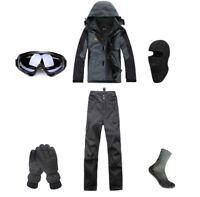 D53 Men Ski Snowboard Jacket Pants Gloves Goggles Balaclava Socks S M L XL XXL