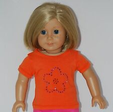 """ORANGE S/S TEE SHIRT WITH PINK FLOWER Doll Clothes fits 18"""" American Girl Dolls"""