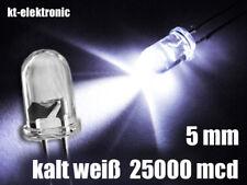 10 Stück LED 5mm kalt weiß ultrahell 25000mcd