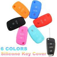 3 Tasti Guscio Cover Chiave Key Telecomando Gomma Per AUDI A3 A4 A6 A8 TT Q7 S6