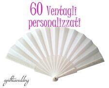 60 Pezzi Ventagli Bianchi Personalizzati Matrimonio Wedding
