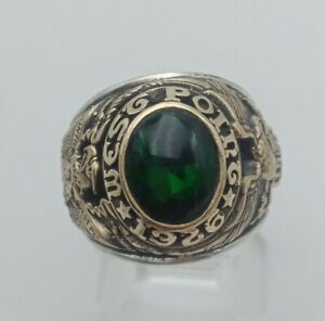 US Military Academy West Point Rings 1926  , Dark Emerald Stones , Gold 10k