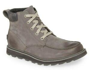 Sorel Men's Madson Moc Toe Waterproof Leather Lace Up Boots Quarry Grey Size 10