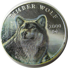 elf Liberia 10 Dollars 2000 Silver  Timber Wolf in Winter