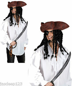 Pirate White Shirt Men Fancy Dress Costume Buccaneer Shipwreck Lace Frilly