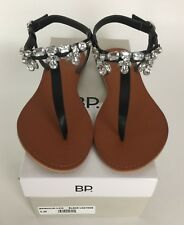 5f6c7fc5807 BP Womens Sandals Size 8 Rock Embellished T-Strap Black Leather New With Box