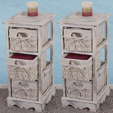 2x Regal Kommode mit 3 Korbschubladen 58x25x28cm, Shabby-Look, Vintage weiß