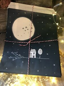 15 x Kraft Gift Party Paper Bags Full Moon Navy East of India Christmas Wrap