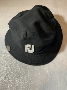 FOOTJOY FJ DryJoys Black WATERPROOF BUCKET HAT Rain Gear Golf (Size: Medium)