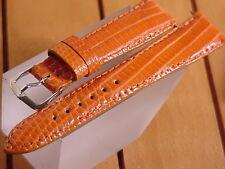 20 Mm Genuine Orange Lizard Strap Made In The U.S.A. . New!