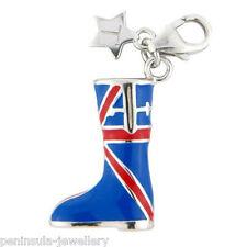 Tingle Union Jack Welly Stivale argento Sterling Charm a Clip con scatola regalo SCH243