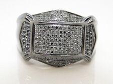 New Mens Black Gold Finish Round Cut Black Diamond Pinky Fashion Ring 0.75 Ct