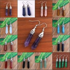 Natural Amethyst Quartz Hexagon Pendulum Gemstone Column Dangle Earring Jewelry