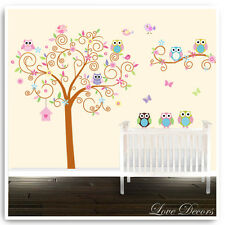 Owl Wall Stickers Animal Jungle Zoo Tree Nursery Kids Baby Room Decals Mural Art