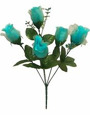 5 Roses ~ TURQUOISE BLUE AQUA TEAL ~ Silk Wedding Flowers Bouquets Centerpieces