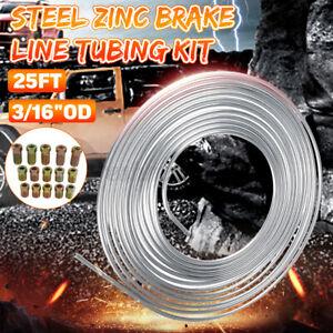 25ft 3/16'' Car Brake Line Kit Steel Tube Coil Roll Flexible Rod + Fittings Part
