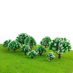 10 White Flower Trees Model Train Diorama Park Spring Scenery HO N Z Scale