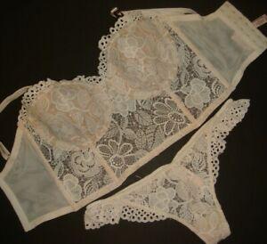 Victoria's Secret 34DDD BRA SET S thong coconut WHITE embroidered lace BRIDAL