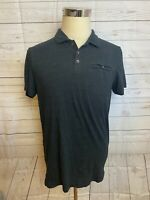 Rock & Republic The Iconic Polo Short Sleeve Front Pocket Shirt Black Mens M