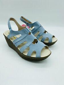 Skechers Women Parallel Stylin Suede Peep-toe Slingback Wedge Sandals Light Blue
