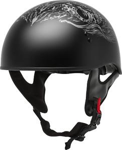 Gmax Hh-65 Half Helmet Ghost/Rip Naked Matte Black/Silver 2X H1653078
