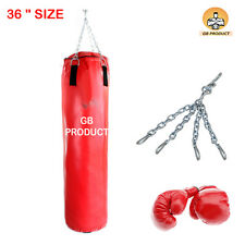 "FULL SIZE PUNCHING BAG 36"" + PU GLOVES ( FREE SIZE ),"