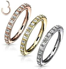 Hinged Segment Ring Septum Clicker Cartilage Ear Hoop Ring with CZ Gem Edge