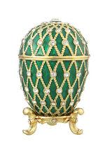 Decorative Faberge Egg / Trinket Jewel Box with Grid 2.8'' (7 cm) green