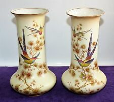 Crown Ducal Product England 2 Vases Couple m. hummingbirds on tree Height