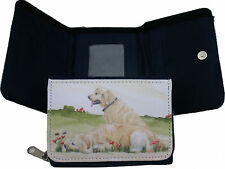 RETRIEVER GOLDEN DOG DESIGN DENIM BLUE PURSE WALLET SANDRA COEN ARTIST PRINT