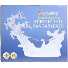 LED Acrylic Santa Sleigh Indoor Home Office Christmas Xmas Ornament Decoration