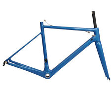 52cm Carbon Road bicycle Frame Fork 700C Seatpost Di2 Blue glossy BSA 25C