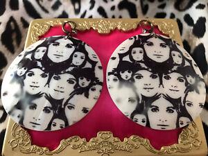Betsey Johnson Vintage Mod Black & White Girl Face Print Shell Earrings RARE