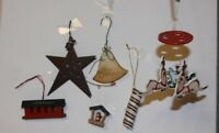 Mixed Lot of 5 Christmas Ornaments Mobile reindeer, star, candy cane, wood bird