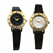 Peugeot Women Small Face Watch - 14Kt Gold Plated, Roman Numerals, Leather Strap
