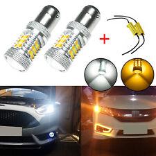 Pair 31-SMD 1157 Switchback LED Turn Signal Light Bulbs + Free Load Resistors