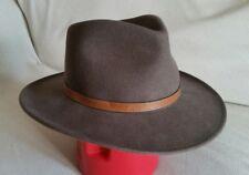Flex Felt Wool Fedora Hat Men's Brown Medium Leather Band