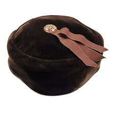 Vintage Brown Velvet Pillbox Hat Beribboned Lucite Cabochon Mid Century 40s 50s