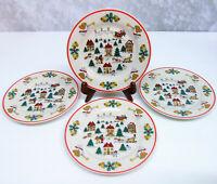 "Set (4) JOY OF CHRISTMAS PLATES 7.5"" Dessert Salad Jamestown China Action 1987"